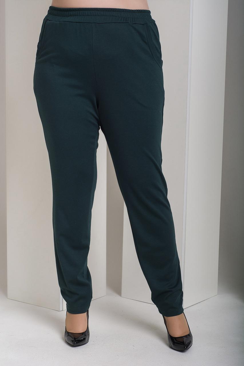 Зеленые брюки с высокой посадкой для полных Лион