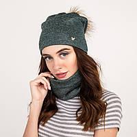 Модный женский комплект (шапка с помпоном + хомут) - Арт 2135, фото 1