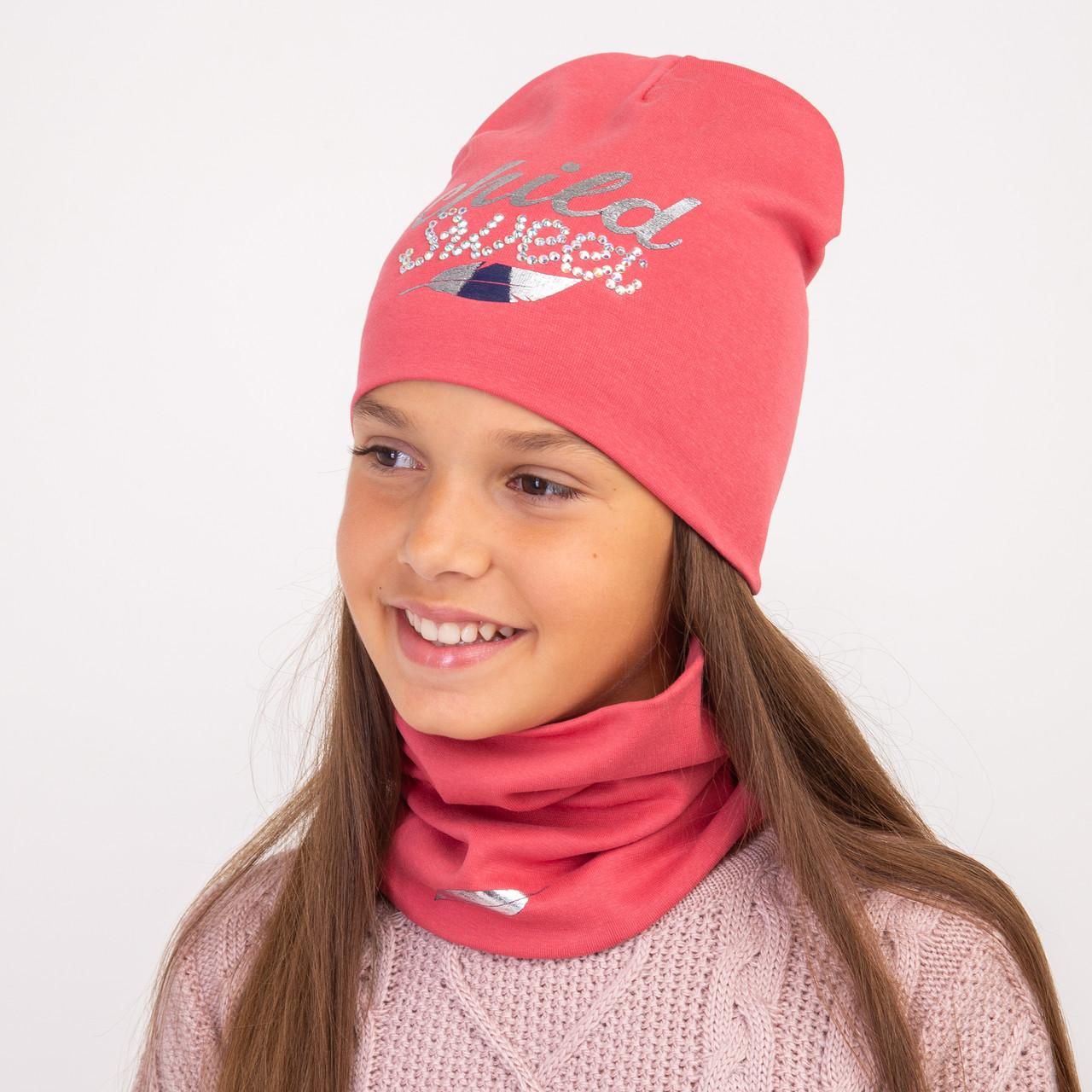 Осенний хлопковый комплект для девочки - Арт 2297