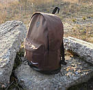 Стильный мужской рюкзак Nike Найк с кож дном Коричневый с черным Vsem, фото 4