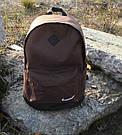 Стильный мужской рюкзак Nike Найк с кож дном Коричневый с черным Vsem, фото 6