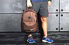 Стильный мужской рюкзак Nike Найк с кож дном Коричневый с черным Vsem, фото 7