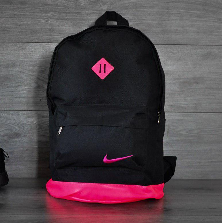 Городской рюкзак в стиле Nike черный с розовым ромбиком и кожаным дном