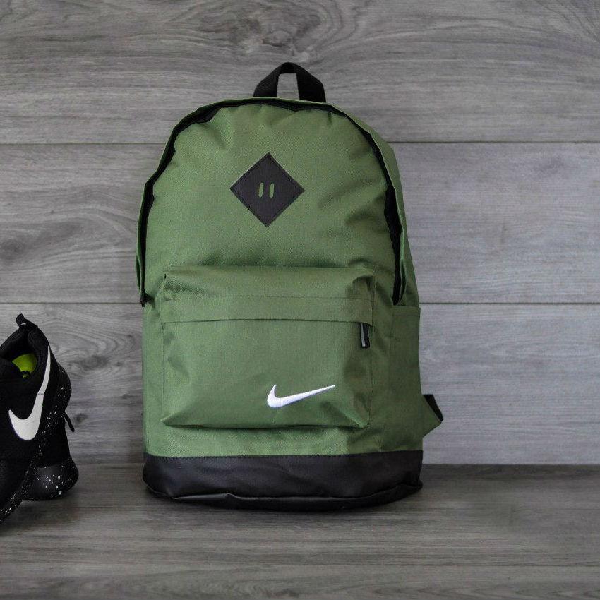 Рюкзак в стиле Nike зеленый хаки с черным