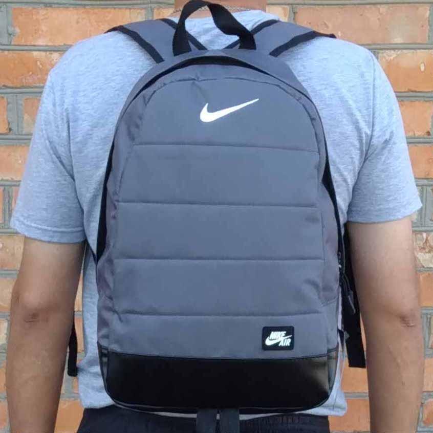 Рюкзак спортивный в стиле Nike Air серый с черным