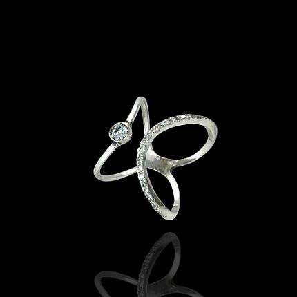 Серебряное кольцо с фианитами, 23 камня, фото 2