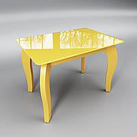Стеклянный стол Император мини (журнальный) желтый, фото 1