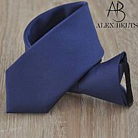 Синий галстук подростковый однотонный на кнопке. (Арт.: GPOK0003)