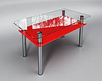 Стеклянный стол Вега с полкой (журнальный) красный, фото 1