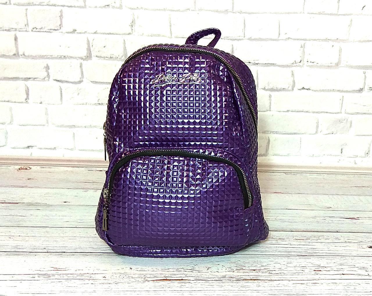 Женский рюкзак в стиле Philipp Plein фиолетовый