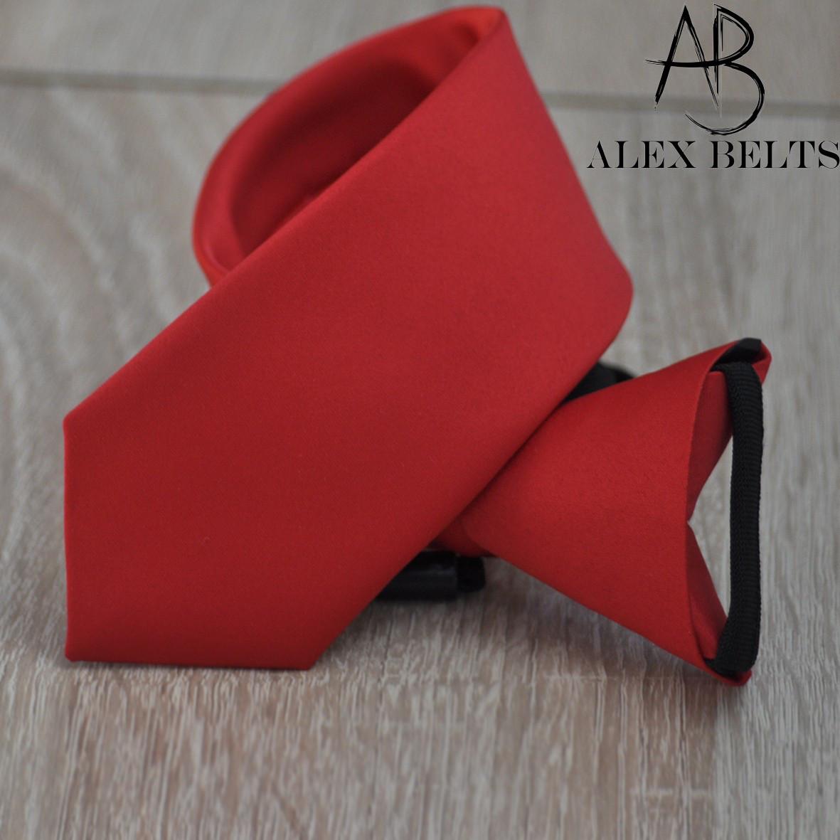 Красный галстук подростковый однотонный на кнопке. (Арт.: GPOK0006)