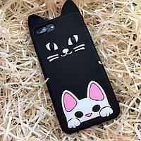 Чехол резиновый Котик на iPhone 7+, белый, фото 1