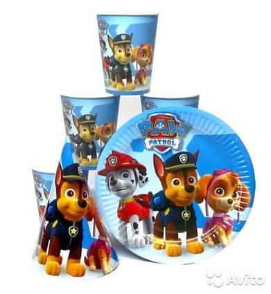Набір одноразового посуду Щенячий патруль на блакитному 10 тарілок , 10 стаканчиків , 10 ковпачків