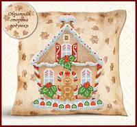 Схема для вышивки бисером Подушка Пряничный домик