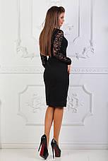 Платье с гипюровыми вставками, №81, чёрное., фото 3