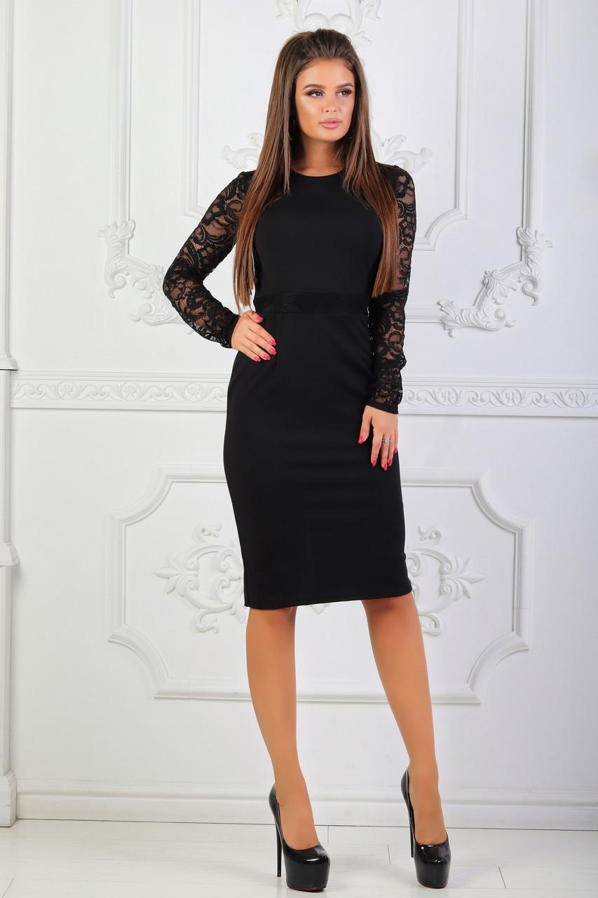 Платье с гипюровыми вставками, №81, чёрное.