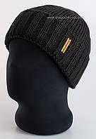 Черная вязаная шапка с отворотом Oskar для мужчин