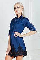 Платье с карманами и кружевом / стрейч - джинс / Украина 19-9110-1, фото 1