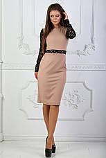 Платье с гипюровыми вставками и длинным рукавом, фото 2