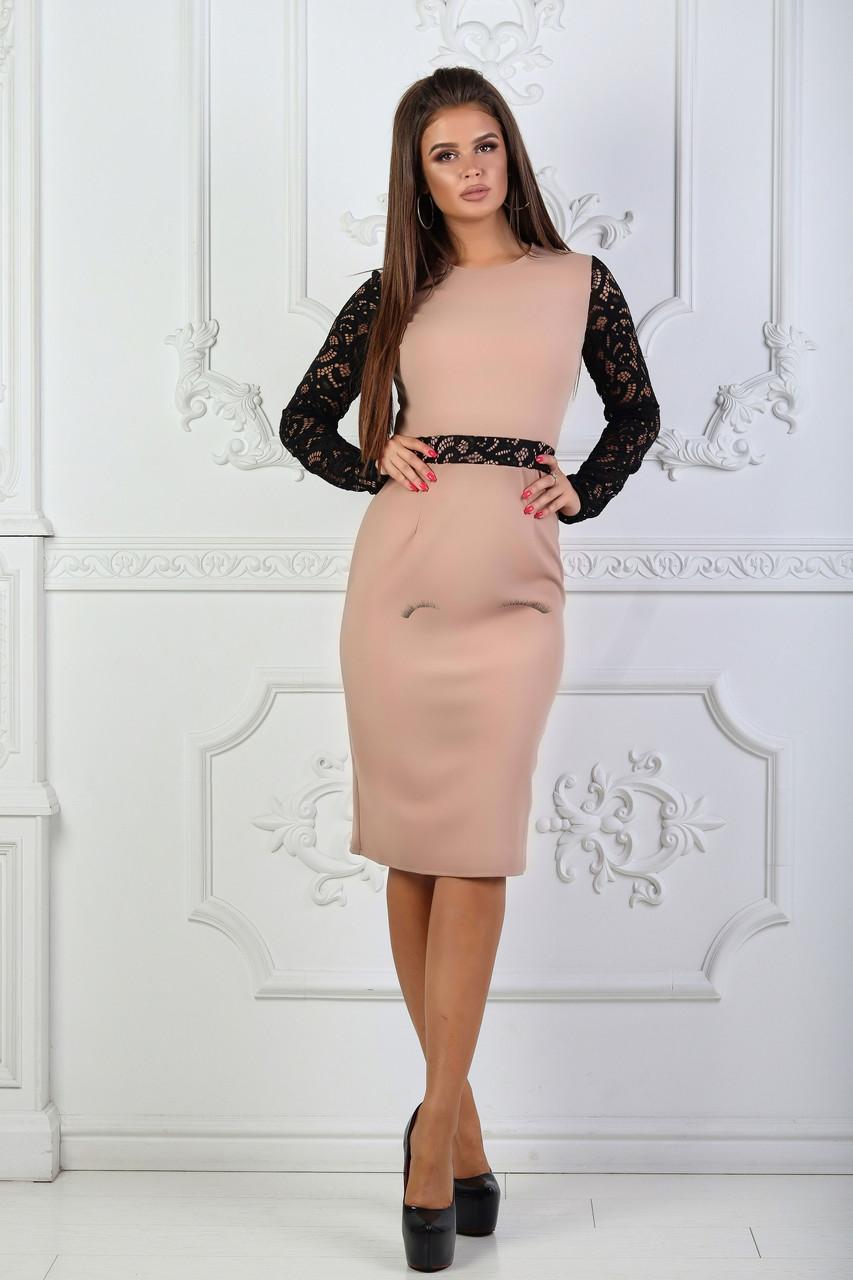 Платье с гипюровыми вставками, №81, каппучино.