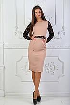 Платье с гипюровыми вставками и длинным рукавом