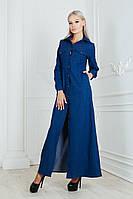 Платье в пол с пояском / стрейч - джинс / Украина 19-9213, фото 1