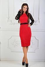 Платье с гипюровыми вставками, №81, красное., фото 2