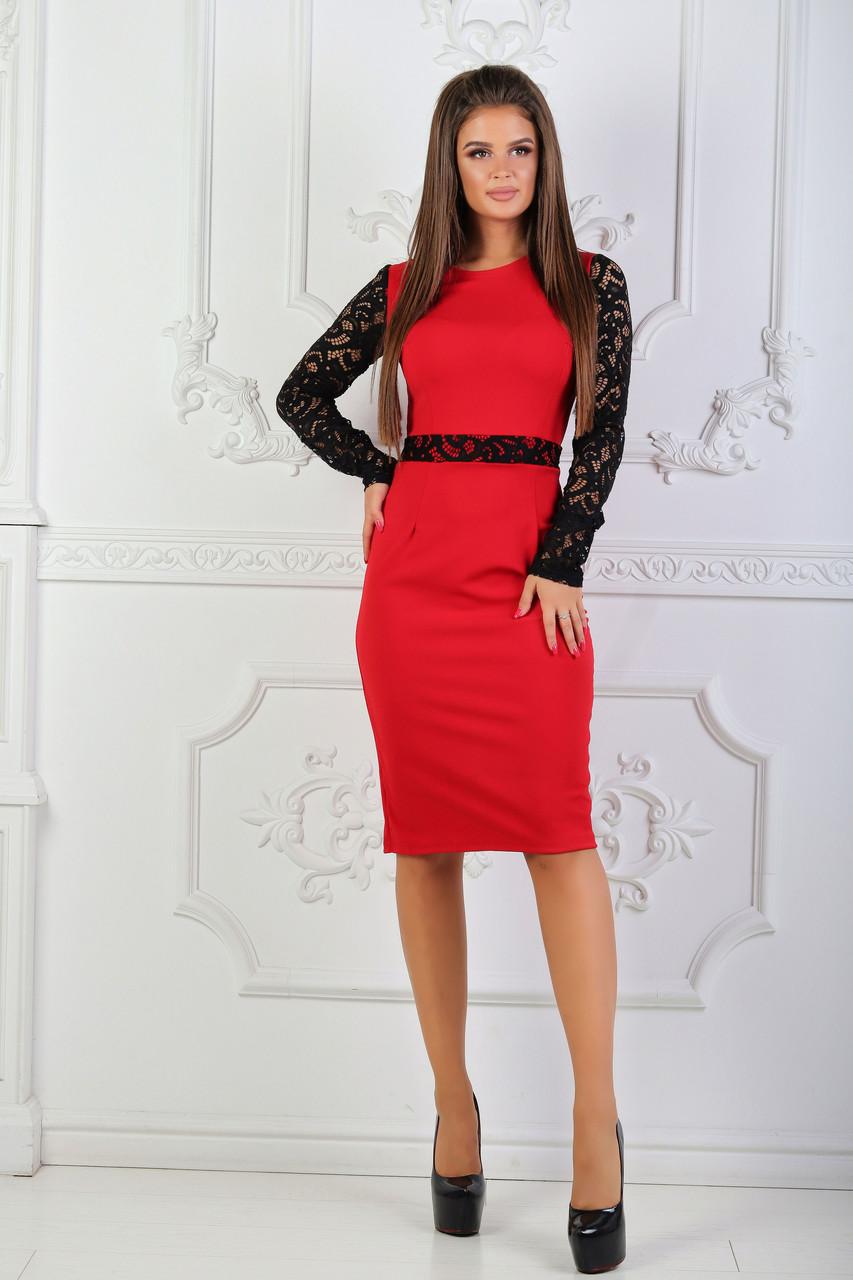Платье с гипюровыми вставками, №81, красное.
