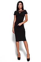 Элегантное платье по фигуре  со вставкой в зоне декольте из полупрозрачной сетки 42-50р