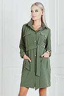 Платье - рубашка с пояском и карманами / костюмная ткань / Украина 19-9225, фото 1