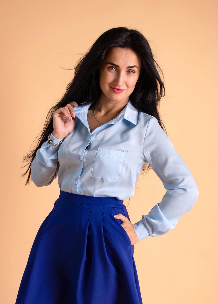 c2901fde9b3 Офисная женская рубашка голубого цвета  продажа