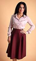 Женская рубашка в офисном стиле пудрового цвета