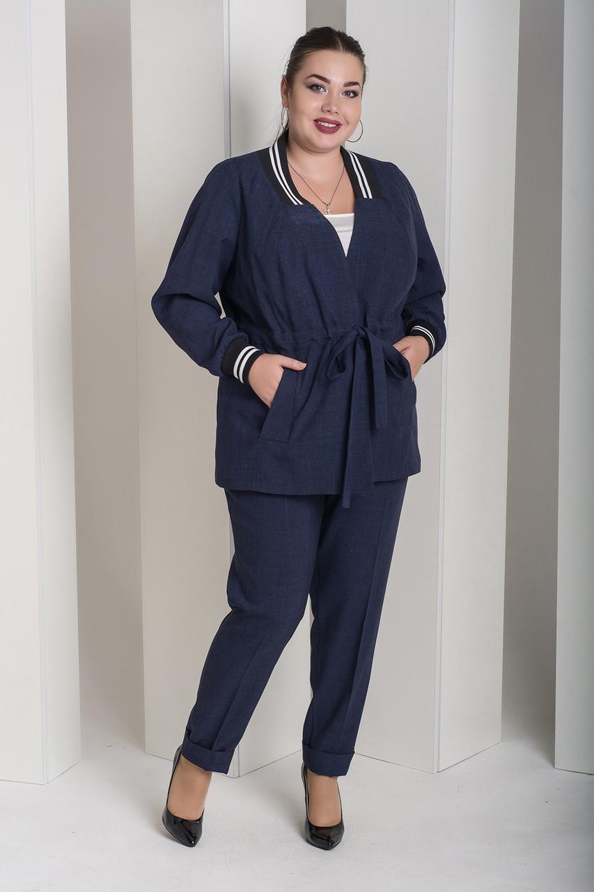 e61dfb133fb98 Стильный синий костюм для полных женщин Вог - V Mode, прямой поставщик  женской одежды в