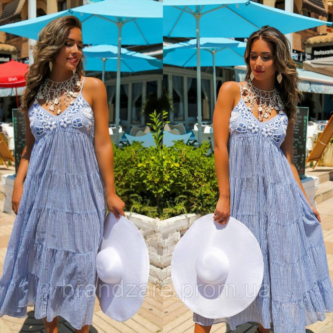 b532b1dbf205814 Женский макси сарафан платье в полоску Испания пляжный в морском ...