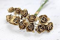 Декоративные бумажные цветочки, розы для скрапбукинга 1,5 см 12 шт/уп. на ножке бронзового, золотистого цвета, фото 1