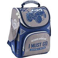 Рюкзак школьный каркасный 1-3 класс, ортопедическая спинка ТМ GoPack для мальчиков Синий с Джипом