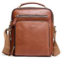 Мужская кожаная наплечная сумка Contacts с распашными карманами Коричневая