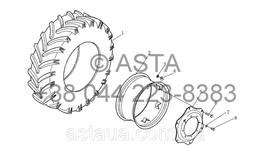 Колесо (Передний Привод) на YTO X1104, фото 1