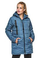 Жіноча куртка подовжена парку з капюшоном весна-осінь 44 розміру джинс, фото 1
