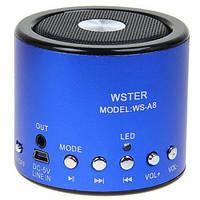Мини портативная MP3 колонка от USB FM WS-A8 Blue