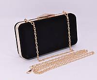 Велюровый клатч Rose Heart 09829-1 черный, сумочка на цепочке, фото 1