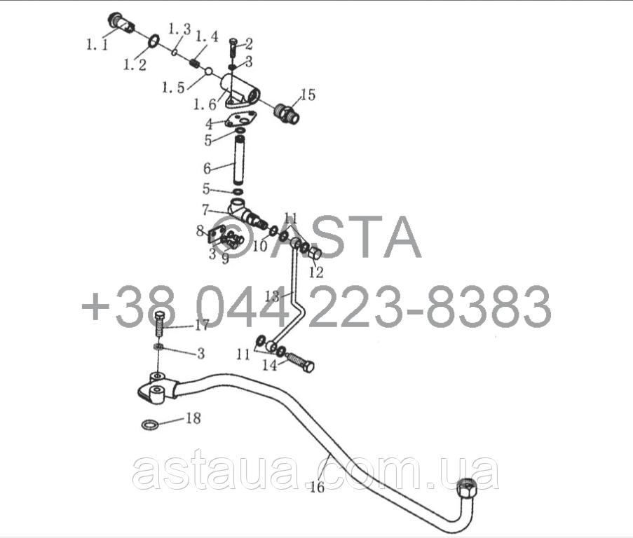 Система охлождения смазки на YTO X1104
