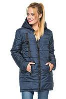 Удлиненная женская куртка парка с капюшоном весна-осень 44 размера синяя, фото 1