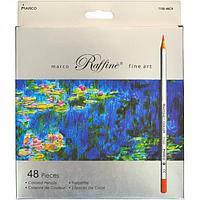 """Цветные карандаши Raffine 48 цветов №7100-48CB """"MARCO"""" в металлизированной упаковки (уп3\60)"""