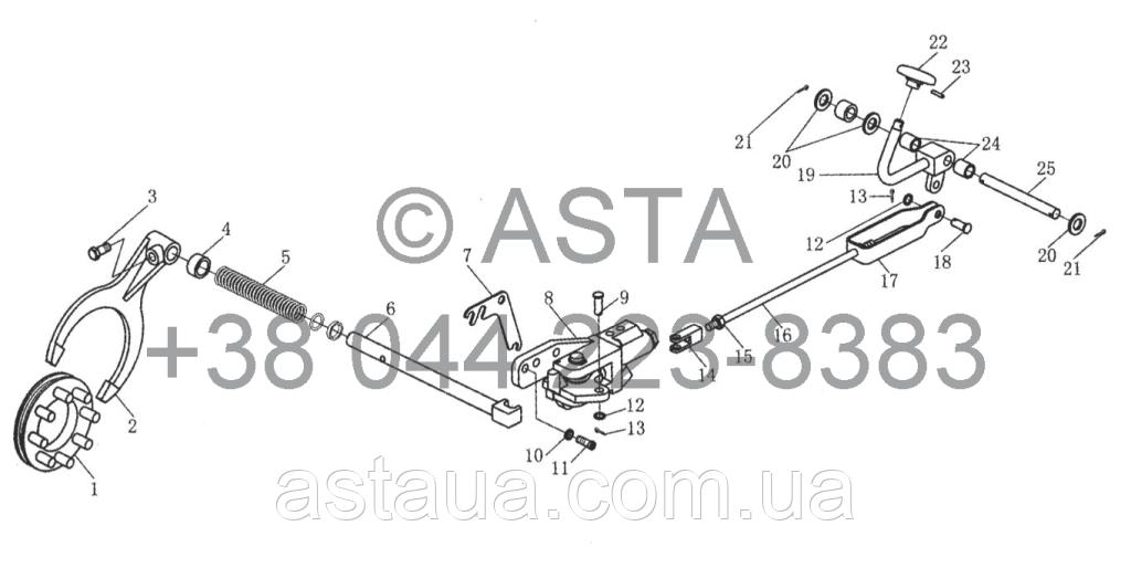Задняя коробка передач - Блокировка дифференциала и устройства управления на YTO X1104