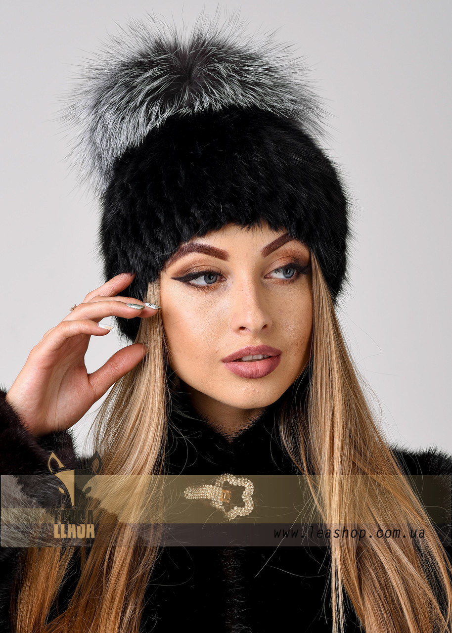 Зимняя меховая шапка с большим бубоном из чернобурки