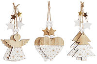 """Деревянная подвеска """"Ангел, Сердце, Ёлочка """" 18 см, 3 вида 24 шт."""