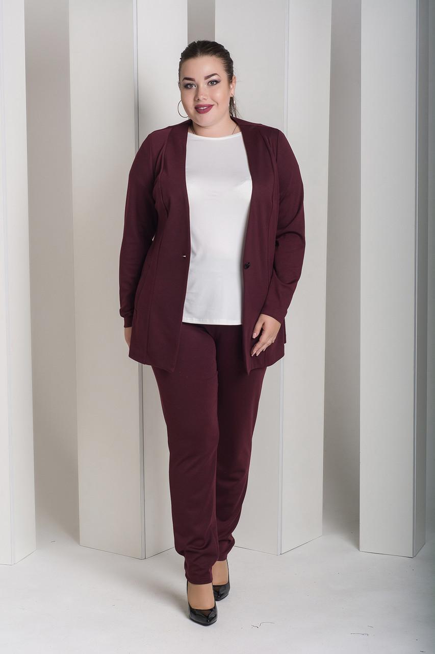 f382be264b6 Бордовый костюм с брюками для полных женщин Лион - V Mode