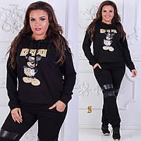 Женский трикотажный спортивный костюм Gucci брюки плюс толстовка Батал 9b3a6fa12c0ca