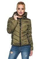 Модная демисезонная куртка с капюшоном 44-54 размера хаки